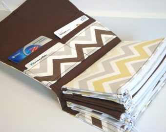 Cash Budget Envelope Wallet  / Dave Ramsey System - River Rock Chevron Zig Zag