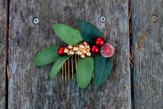 Crimson and Gold Berry Hair Comb, Holiday Wedding, Woodland Wedding, Christmas Gifts