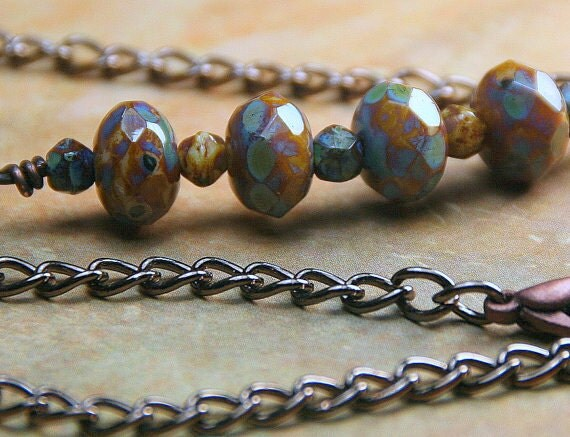 Rustic Picasso Mix Czech Glass Beaded Copper Necklace Copper Jewelry