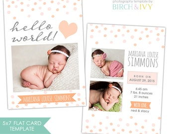 Birth Announcement Photoshop Template for Photographers - INSTANT DOWNLOAD