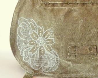 Vintage Linen Czech Military Bag - Hand Painted Lace