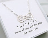 Silver Double Infinity Necklace, Sterling Silver, Message Card, Friendship Necklace, Love, Best Friends, Sisters, Mom, Eternal Love