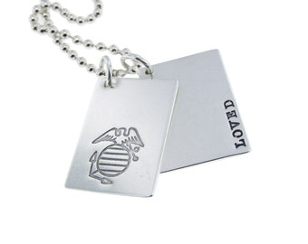 Personalized Military Coordinate Charm Necklace Hand Stamped Sterling Silver Double Rectangle Pendants Custom Engraved Artisan Dad Jewelry