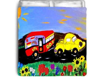Retro Yellow Truck and Travel Trailor Camper Comforters from my art