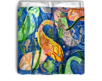 Tropical Fish  colorful comforter from my art
