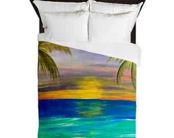 Tropical Sunset Beach Duvet Covers from my original artwork