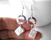 Silver hoop pearl earrings, hammered silver ring and white diamond pearl earrings, modern elegant jewelry