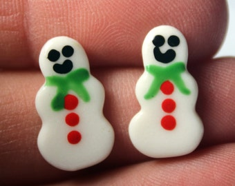 Mini Snowmen Christmas Earrings Handmade Porcelain Ceramic Jewelry