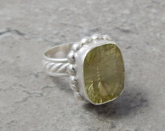 Sunset - Rectangular Yellow Quartz Sterling Silver Ring Size 7