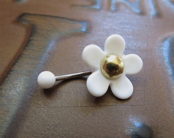 Belly Button Ring Jewelry, Mod Daisy Flower Power Belly Button Jewelry Navel Ring Piercing Bar Barbell White Hippie Stud Belly Button Ring