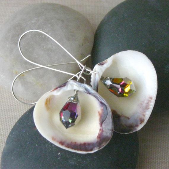 Long Seashell Earrings, Sea Shell Earrings, Shell Earrings, Beach Jewelry, Crystal Earrings, Long Earrings, Shell, Boho, Crystal, Rainbow