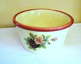 Vintage  Rose ceramic planter- Victorian