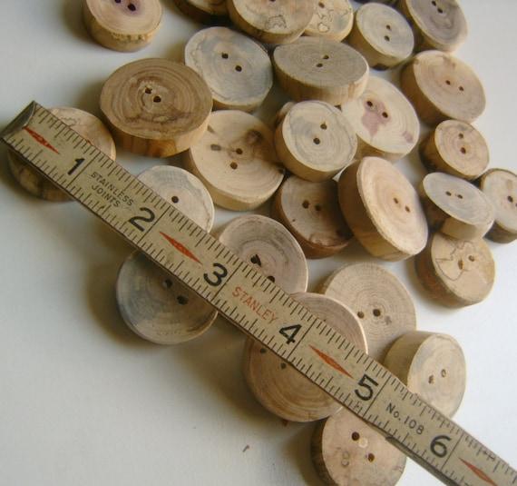 25 Wooden  Buttons Handmade 1 inch Tree Branch Slice Assortment