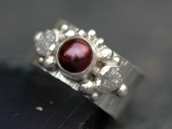 Rough Diamond and Japanese Saltwater Pearl Engagement Band- Custom Made Custom Colour