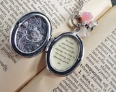 Always My Mommy - Sterling Silver Plated Locket, Glass Flowers and QUOTE Locket Necklace