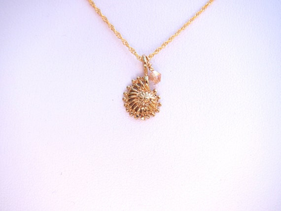 FREE SHIPPING Gold seashell charm with pink crystal