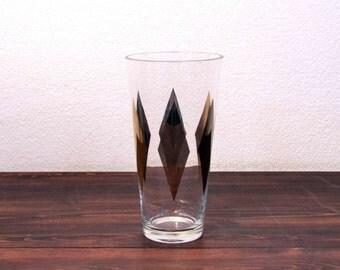 Vintage Mid Century Glass Vase with Painted Metallic Diamond Pattern