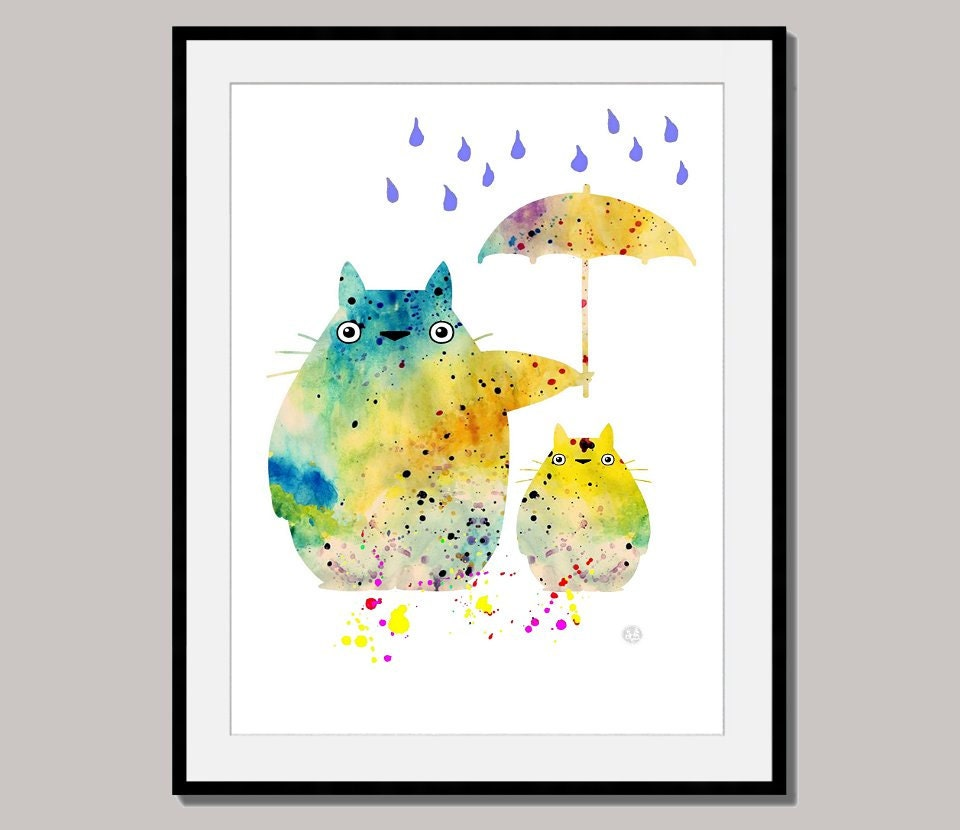 TOTORO RAINY DAY art print art poster designed for 10 x 8 inch