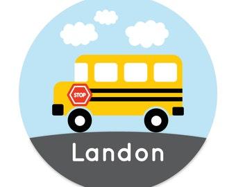 Personalized Kids Plate - School Bus - Back to School