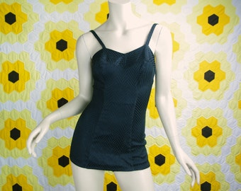 Perfect Pinup 50's Swimsuit- Black Chevron- 1950s- Extra Small- One Piece- Beach Glamour