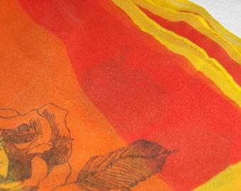 Lovely sheer neck scarf - rose design - color blocking