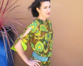 60s Luau Paradise Hawaii Maxi Dress Cotton Sateen M Lg, Tropical Honeymoon
