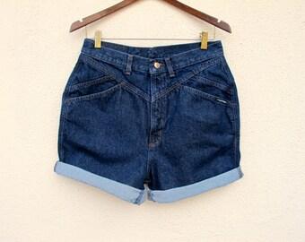 Hipster High Waist Shorts Rockies Denim W 29 30, Cut Offs Dark Blue Jean High Waisted Shorts size 13 14
