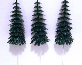 3 Large Evergreen Tree Cupcake Picks
