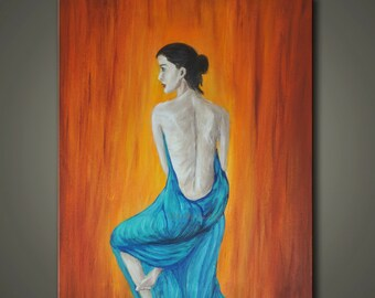 "Original Abstract Figurative Painting. ""Blue Robe""- Modern female Art.  Orange blue/ turquoise. Free Shipping inside US."