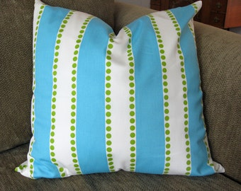 "One Decorative Pillow Cover, 18"" x 18"", Stripes,  in Aqua, White & Green , Zipper Closure, Washable"