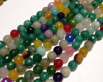"agate mixed color faceted round beads whole 15"" strand real gemstone beads"
