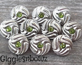 NeW Set of 10- PETITE Size SiLVeR SWiRL Rhinestone Buttons-LiME GReeN 15mm