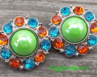 CoLOR HaPPY- Set of 2 SHiNY APPLE GReeN Pearl with ORaNGE and TuRQUoiSE Rhinestone Buttons 25mm
