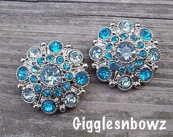 RHiNeSToNe BuTToNS- NEW Set of Two LiGHT BLUE and TURQUOISE Acrylic Rhinestone Buttons 27mm