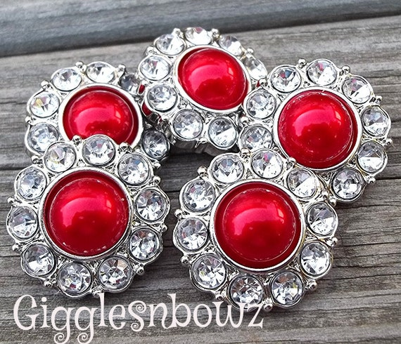 NEW Set of Five LIMITED EDITION Red Pearl and Clear Rhinestone Buttons 25mm