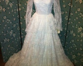 SALE Breathtaking Vintage Long Sleeve and Lace Tiered Wedding Gown