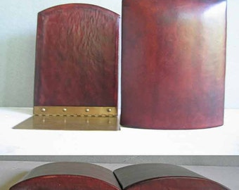 Leather Bookends Brass Feet