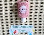 Hand Sanitizer Holder -- Sock Monkey Pink