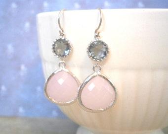 Blush Pink Earrings, Grey Earrings, Silver Earrings, Blush Pink Wedding, Pink Gray Wedding