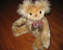 VINTAGE 1980s/90s BLONDIE Funky Blonde Mohair Furry Ears Collectible Teddy Bear - Artist Signed Numbered w/Rhinestone Accent & Ribbon Bow