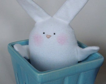 White Bunny - White Easter Bunny - Easter Basket Toy - Bunny Toy - Rabbit - Toddler Bunny Toy - Stuffed Animal Bunny - Washable
