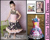 Elaine Halter Dress With Optional Top and Skirt Sizes 2-8 PDF Pattern Ebook