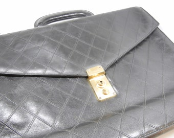 Authentic CHANEL briefcase / Black leather with diamond stitch and brass lock / Mens / Ladies / Unisex Designer Luxury Caviar leather