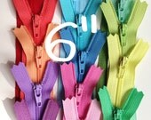 6 inch YKK zippers, light, muted, 15 pcs, red, pink, coral, peach, yellow, blue, moss, mint, apple, lavender, pastel dress, all purpose zips