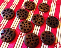 Carved flower wooden buttons - New sew through matching brown buttons, 10 pcs, 25 mm, 1 inch, painted wood round buttons, 4 holes, A063