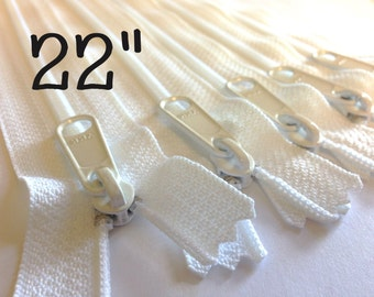22 inch Handbag zippers with extra long pull, TEN pcs, YKK white color 501
