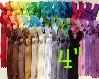 SALE, 4 inch zippers in bulk - 40 zippers in 40 colors to match a variety of colors on designer fabrics, DIY zipper color card