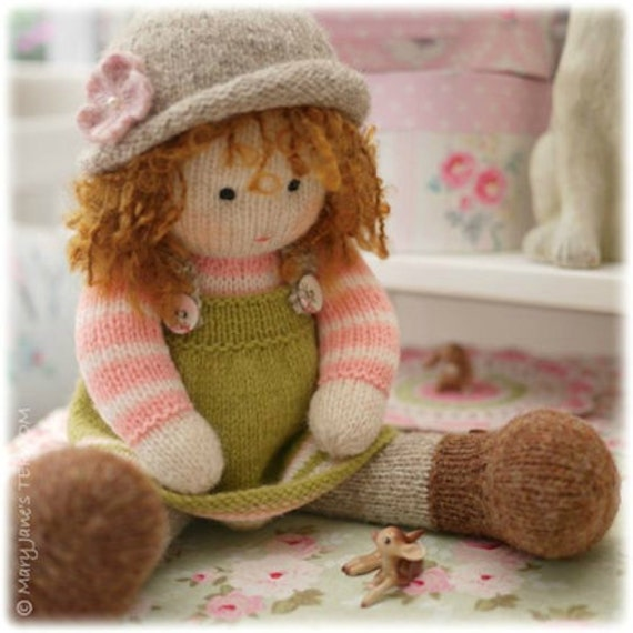 Knitting Pattern For A Dolls Hat : A Tearoom Doll Hat/ PDF Toy Knitting Pattern / TEAROOM Dolls