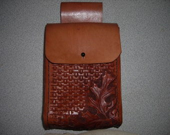 FREE US SHIP/large leather belt hand carved and stamped bag/In stock