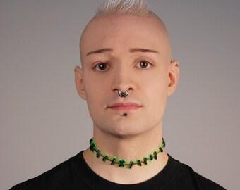 Stitch Choker Necklace - Frankenstein Zombie - Bright Green and Blood Monster stitches Choker -wide stitch